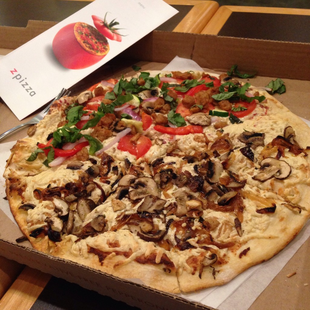 vegan pizza in box at pizza Minneapolis