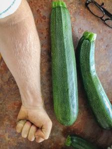 Jack's arm and huge zucchini