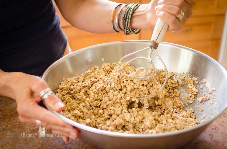 Mixing the granola