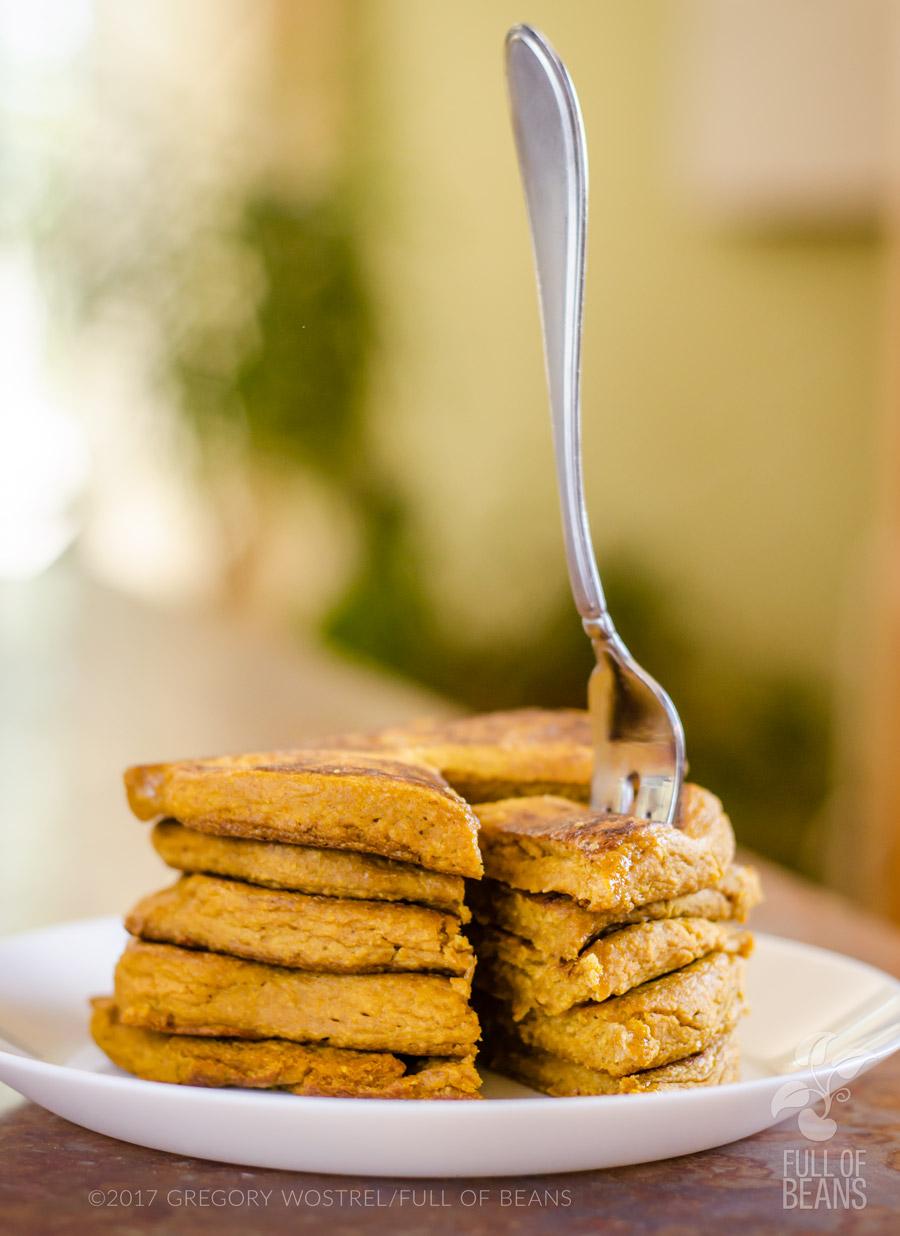 Stack of gluten-free vegan pumpkin pancakes