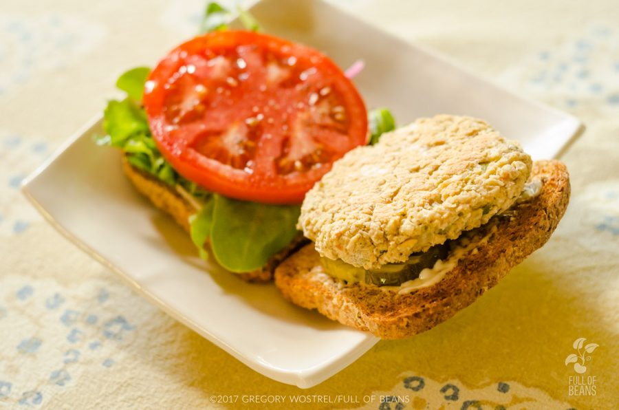 white bean veggie burger sandwich