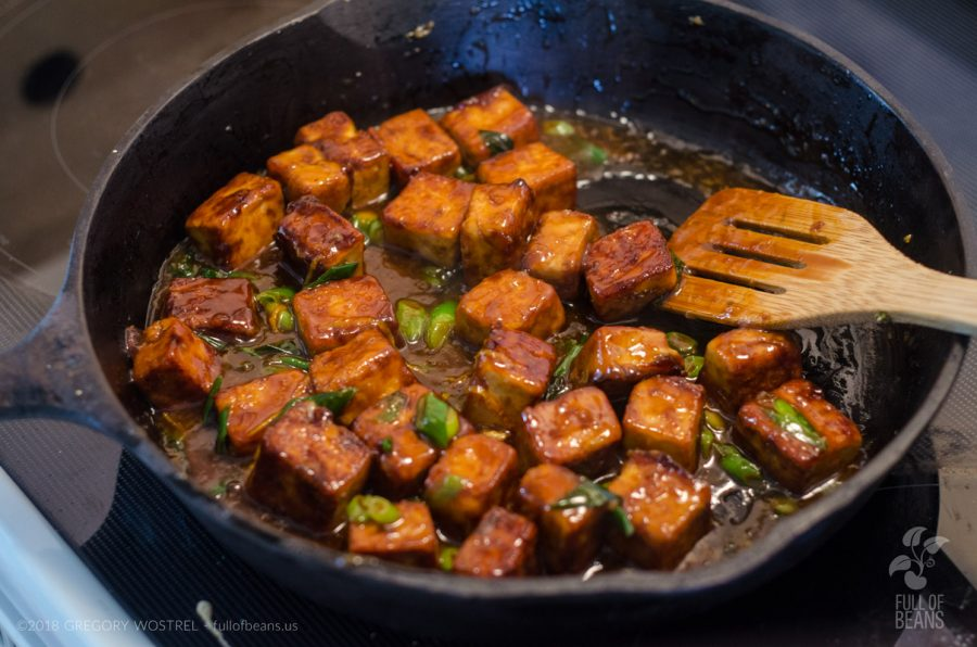 Working on that crispy General Tso Tofu! Still think tofu is boring? :-)