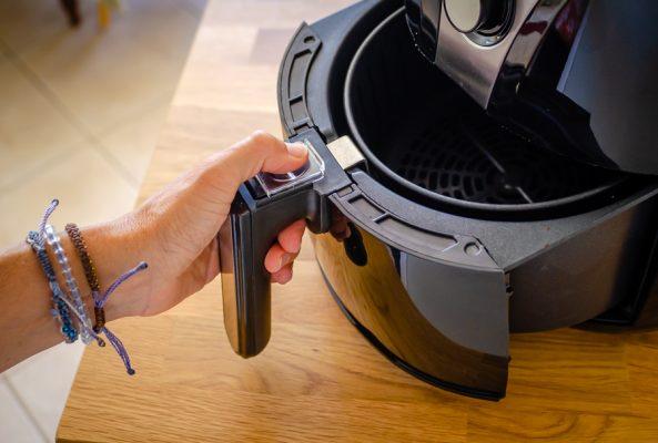 Cooking basket inside the air fryer drawer